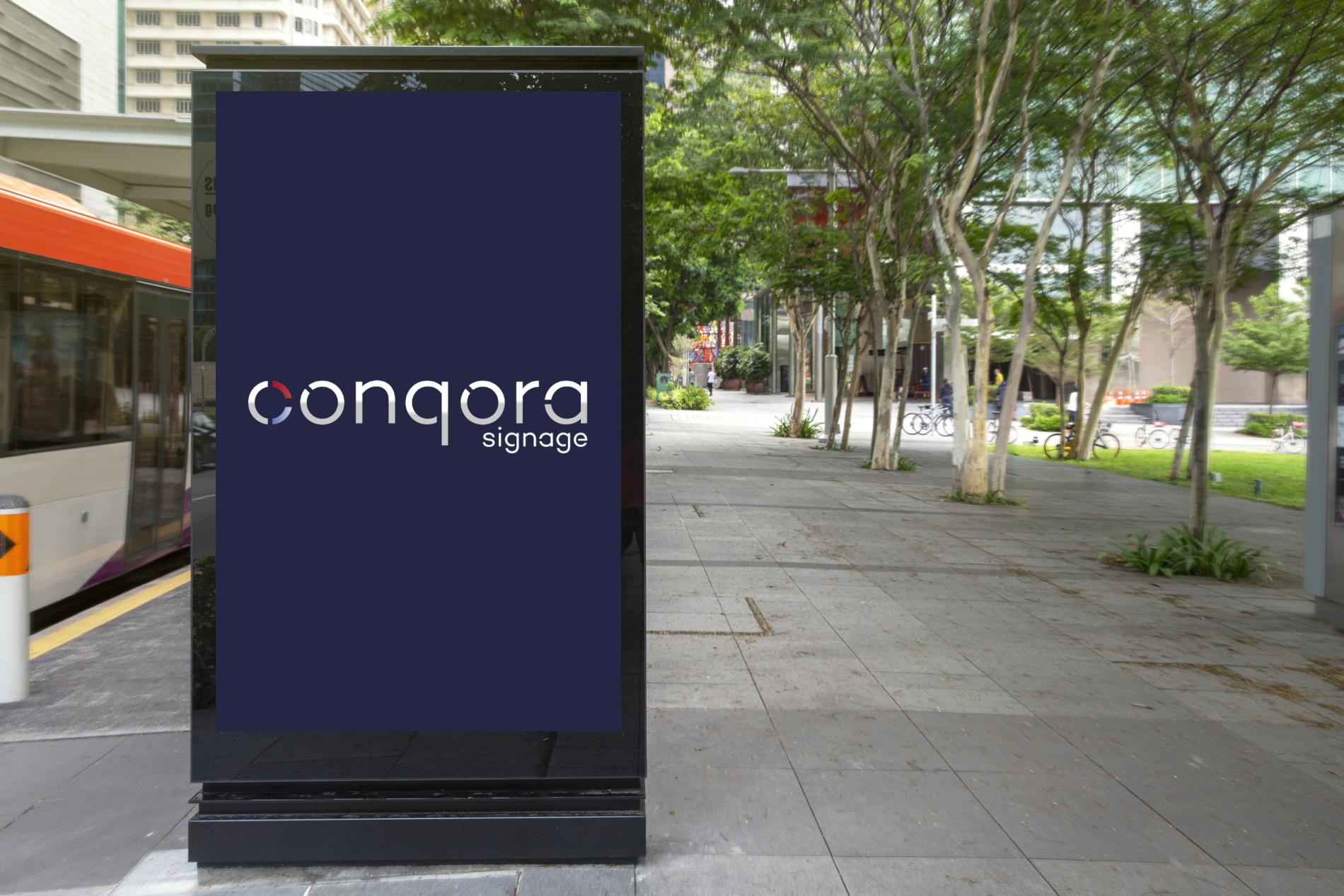 Digital Media blank advertising billboard in the bus stop, blank